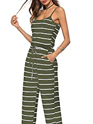 Ultra Comfortable and Well adapts to the body Floral or Striped Jumpsuit,Sleeveless,Strap top Casual Wide Leg,Long Pants with Two Pockets Simple style,Fashion design,Loose fit Detailed size please check product description, all our products are Sold ...
