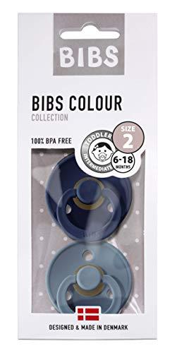 BIBS Ciuccio Colour, Pacco da 2, Senza BPA, Gomma Naturale Succhietti - Taglia 2 (6-18 Mesi), Deepspace/Petrol