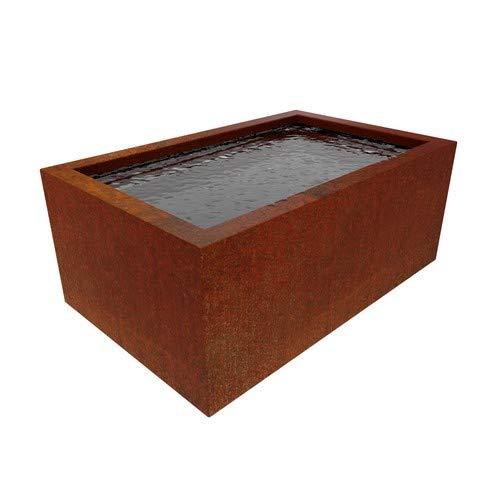 Round Wood 100cm Lacus Corten Steel Pond- Water Feature - Garden Design