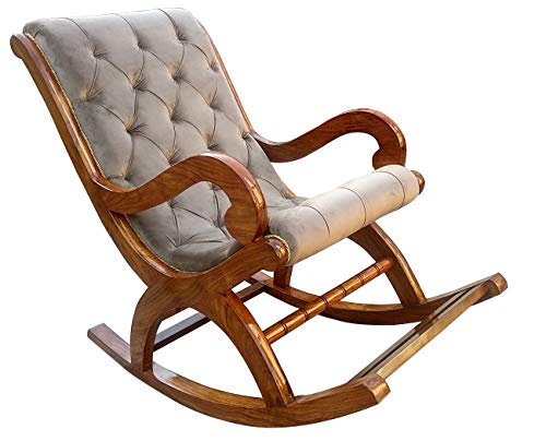 Rocking Chair by TAYYABA ENTERPRISES|Rocking Chairs for Adults|SHEESHAM Wooden in Velvet Cushioned Carved Chair for Living Room|...