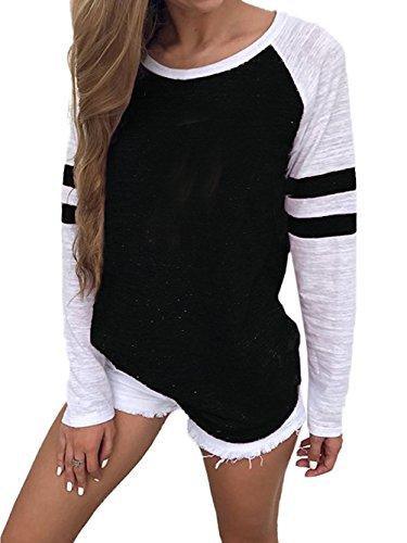 VONDA Camisa Manga Larga para Mujer Blusas Manga Larga Elegante Camiseta Larga Rayas Casual Túnica Tops Jersey Largo A-Negra XL