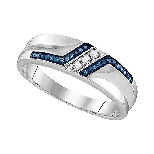 Size - 9.5 - Solid 925 Sterling Silver Round Blue and White Diamond Men's Channel Set Wedding Band OR Fashion Ring (1/5 cttw)