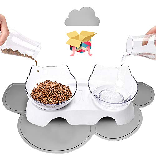 Cottonholic Double-Raised Cat Bowls, 15°-Tilted Elevated Pet Food Water Feeder 【Anti-Slip Cloud Mat Included】 Stress Free, Transparent Food Grade Bowls for Indoor Cats Small Dogs (Shadow)