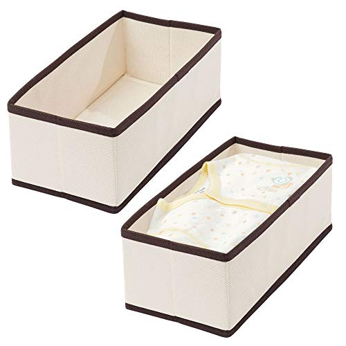 MDESIGN 4er-Set Schrank Organizer aus Polypropylen – rechteckige Aufbewahrungsbox für BHS, Unterwäsche, Socken etc. – auch zur Spielzeug Aufbewahrung geeignet – cremefarben/braun