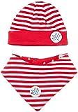 SALT AND PEPPER Set Seaside Hat-Scarf Stripes, Lollipop Red, 49 cm para Bebés