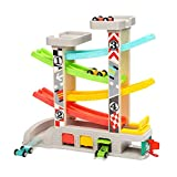 TOP BRIGHT Toddler Toys Race Track Car - Gifts for 1 2 3 Year Old Boys, Wooden Race Track Car Ramp Toy with 4 Wooden Cars and 3 Car Garage