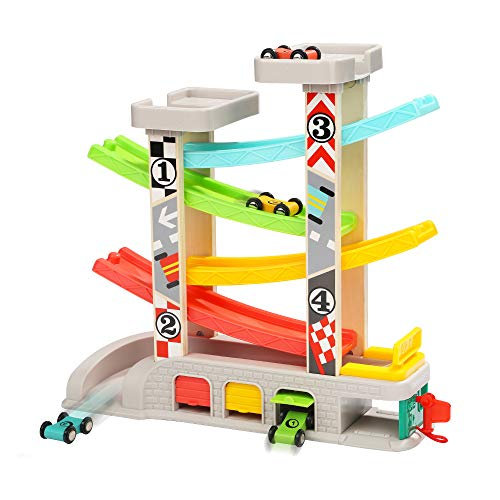 TOP BRIGHT Car Ramp Toys, Toddler Car Toy Wooden Race Track Gifts for Boys&Girls with 4 Wooden Cars and 2 Parking Lots