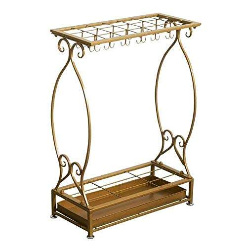 N/Z Home Equipment Umbrella Stand Iron Art Storage Rack Walking Sticks Holder with Hooks Base Drip Tray for Hotel Lobby Home Office 10/21 Holes (Size : 10 Holes)
