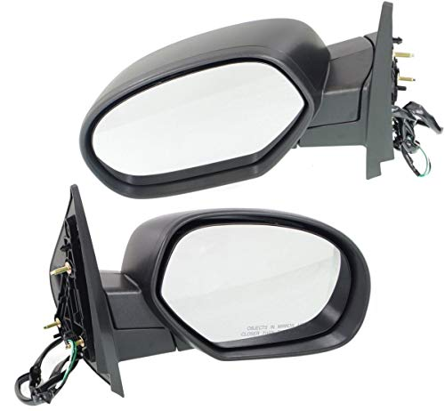 Mirror Compatible with 2007-2013 Chevrolet Silverado 1500/Silverado 2500 HD Power Manual Folding Heated Signal and Pdl Light 2 Caps (Paintable/Textured Black) Passenger and Driver Side