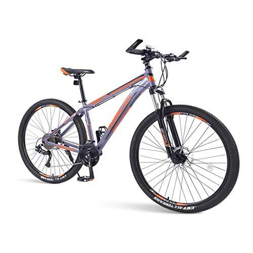 Mountain Bike per Adulti, Mountain Bike Hardtail da 33 velocità con Telaio in Alluminio con Doppio Freno A Disco E Bicicletta da Strada A Sospensione Anteriore per Uomo Donna, Arancione,29in