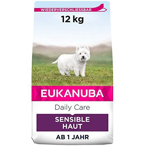 Eukanuba Daily Care Sensitive Skin Hundefutter - Trockenfutter für Hunde mit sensibler Haut, Hyoallergenes Futter mit Fisch, 12 kg