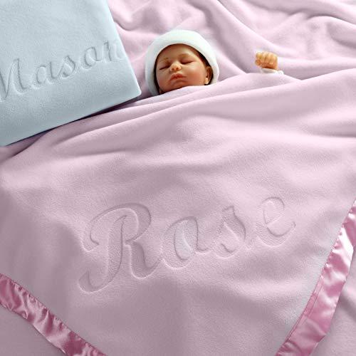 Custom Catch Large Personalized Baby Blanket (Pink) - 36x36 Inch, Satin Trim, Fleece