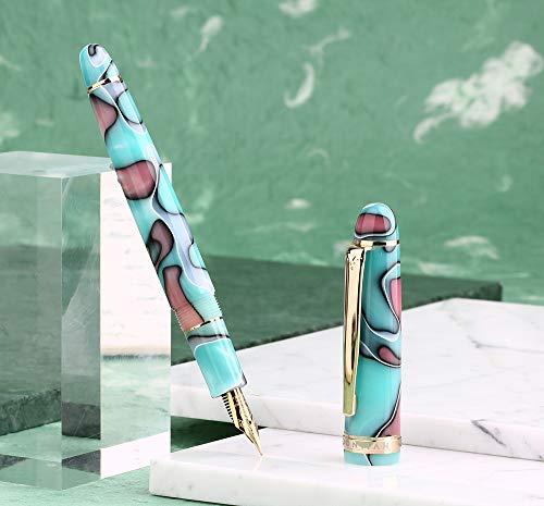 Moonman S3 万年筆 極細字 セルロイド 湖の青さ 、ゴールドトリム、コンバーター
