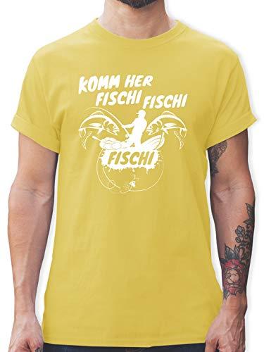Angeln - Komm her Fischi - XXL - Lemon Gelb - L190 - Tshirt Herren und Männer T-Shirts