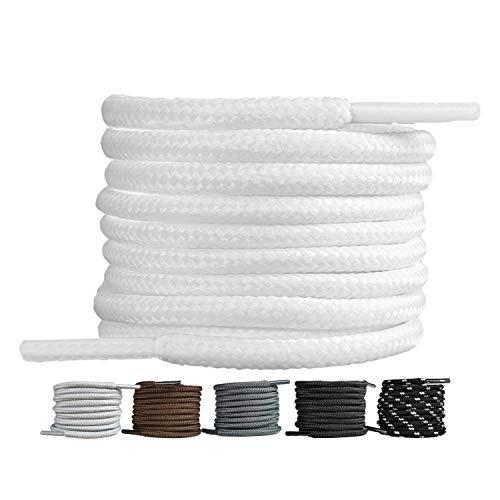LaceHype 2 Paar - Premium Runde Schnürsenkel [ Ø4 mm ] für Arbeitsschuhe, Stiefel, Outdoorschuhe und Sportschuhe reißfeste Schuhbänder Ersatz Shoelaces aus Polyester (Weiß, 130)