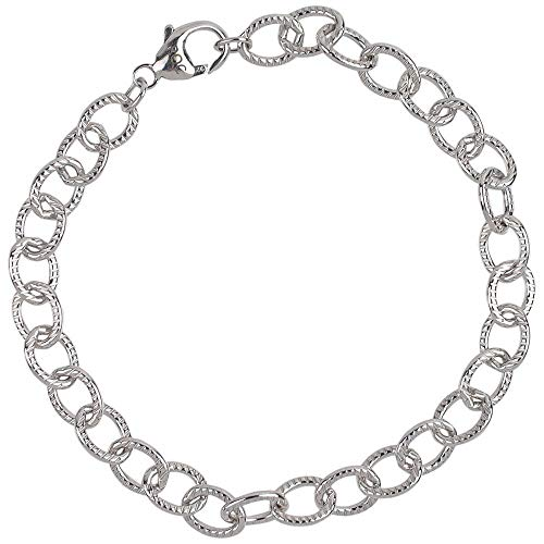 """Rembrandt Charms, 7"""" Lined Cable Link Classic Charm Bracelet, 925 Sterling Silver"""