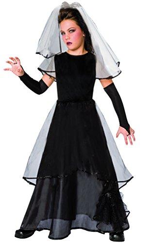 Karneval-Klamotten Kostüm Gothic Braut Kind Mädchen Halloweenkostüm gruseliges Horror Brautkleid inkl. Schleier + Handschuhe