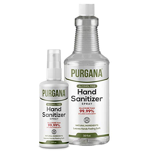 Purgana Alcohol Free Hand Sanitizer 3.4oz with 32oz Refill...