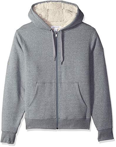 Amazon Essentials Men's Sherpa Lined Full-Zip Hooded Fleece Sweatshirt, Light Grey Heather, XX-Large