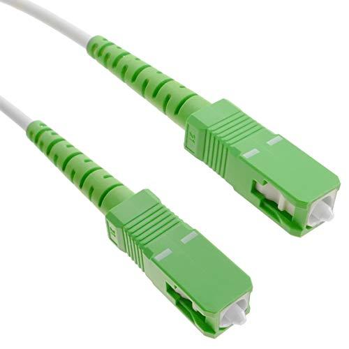 BeMatik.com - Cable de fibra óptica SC/APC a SC/APC monomodo simplex 9/125 de 5 m OS2 blanco/verde