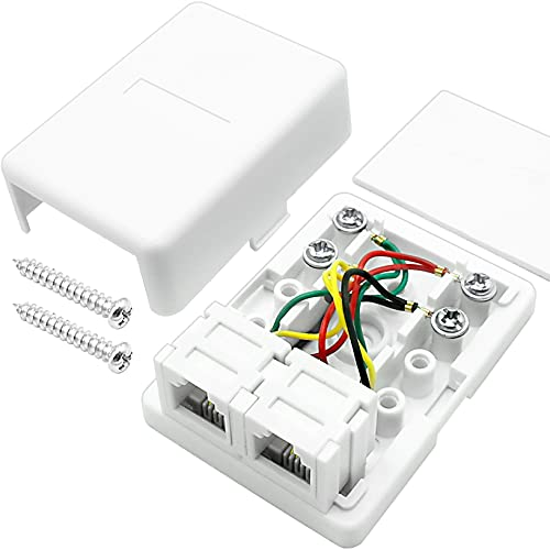 NECABLES Phone Jack Surface Mount Dual Port Telephone Junction Box with 2 RJ11 6P4C Female Outlets White