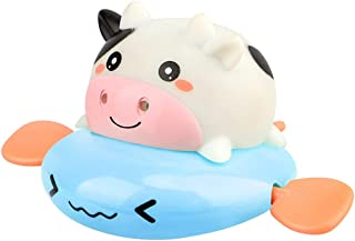 Dorakitten Bathtub Toy Wind up Cow Plastic Interactive Floating Toy Shower Toy Smooth Animal Safe Shower Toy for Kids Ages...