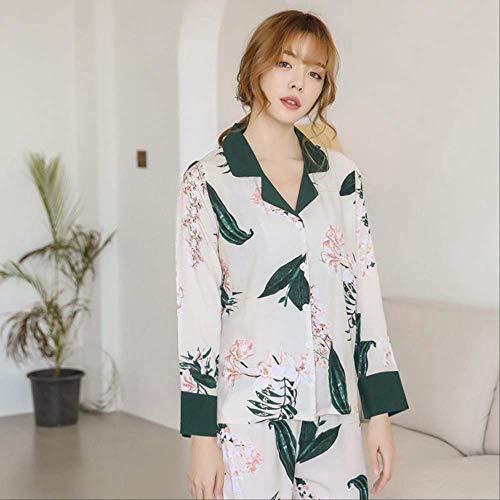 XFLOWR Otoño Langosta de algodón Ropa para el hogar Ropa Cuello Vuelto Cárdigan Elegante Mujer Pijama Traje Pijama para Mujer Ropa para el hogar M PH-04