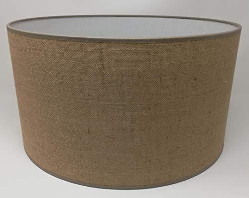 Lampenschirm Zylinderform Jute Sackleinen Creme Stoff Handmade verschiedene Größen Decke Anhänger - Tisch (40 cm Durchmesser 20 cm Höhe)