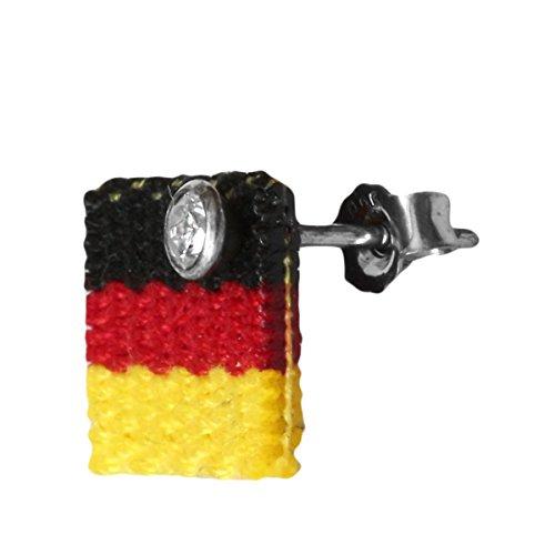 Fan Ohrstecker mit Deutschlandfahne 925 Sterling Silber Fahne Schwarz Rot Gold