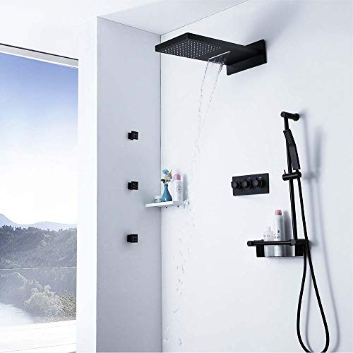 Fantastic Prices! RuiXia Top Spray Brass Shower Valve Body 550mm Shower Concealed Bathroom Black Sho...