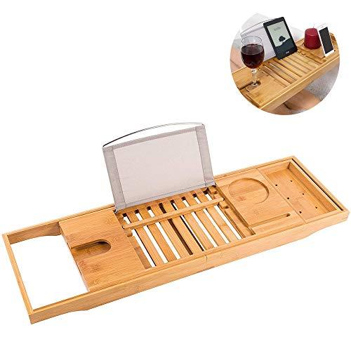 Badewannenbrücke aus 100{c837868f20a249f43228d2ca47e3d44ec0beef096b799e9bf1e5451b32f01c84} natürlichem Bambus, ausziehbare Buchablage, Weinglashalter, Gerät (Tablet, Kindle, iPad, Smartphone) für ein Home-Spa Erlebnis - passend für die meisten Badewannengrößen