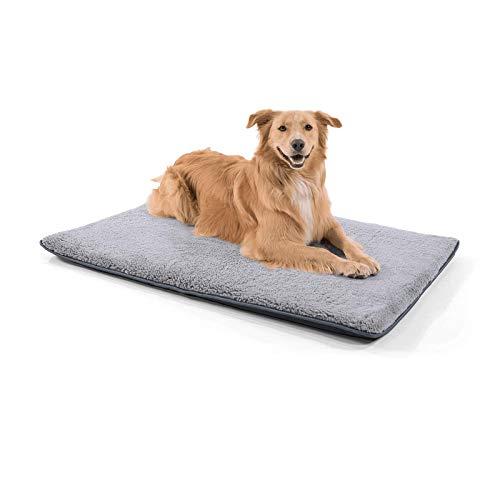 brunolie Finn große Hundedecke, geruchsneutral, hygienisch und rutschfest, waschbare Hundematte in Grau, passend für den Kofferraum, Größe L (120 x 80 x 5 cm)