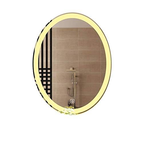 FGDSA Espejo De Baño, Moderno Ovalado Sin Marco Espejo De Tocador Interruptor Táctil Espejos De Maquillaje De Tocador A Prueba De Explosiones Montados En La Pared (Tamaño: 70X90Cm)