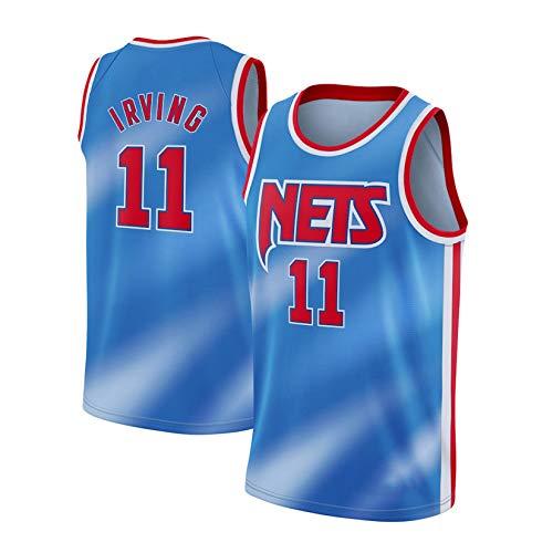 WGFI Camisetas De Baloncesto para Hombre - Brooklyn Nets # 11 Kyrie Irving Uniformes De Baloncesto Baloncesto Retro Swingman Mesh Jersey Chaleco Deportivo Camiseta Sin Ma Blue-XL
