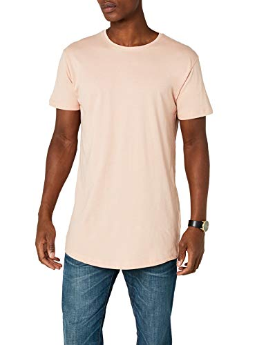 Urban Classics Shaped Long tee Manga Corta con Talle Largo, Camiseta Lisa, Básica Fácilmente Combinable, Versátil y Cómoda, light rose, XL para Hombre