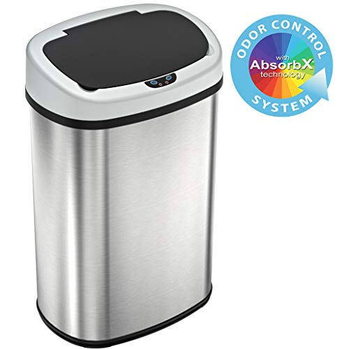 SensorCan 13 Gallon Touchless Sensor Odor Control System, Stainless Steel Oval Shape Automatic Garbage Bin, Base Model Trash Can