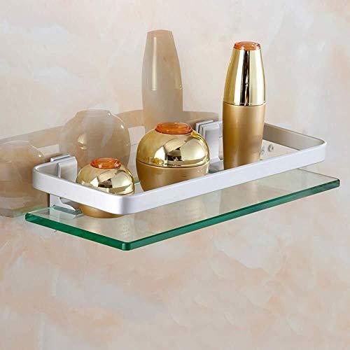 Yxsd Estante de vidrio templado, estante de baño de aluminio, espejo de baño, marco frontal para maquillaje, estante de baño (tamaño: 40 cm)