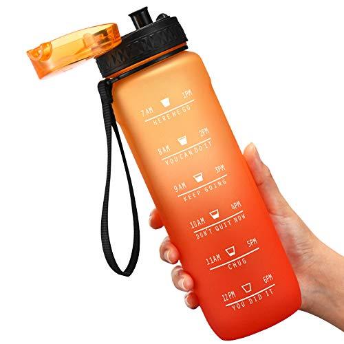 OMORC Borraccia Sportiva, Borraccia da Palestra, Bottiglia d'Acqua Riutilizzabile in Plastica Tritan da 900 ml, Pennello per Pulizia e Indicatore del Tempo, Senza BPA