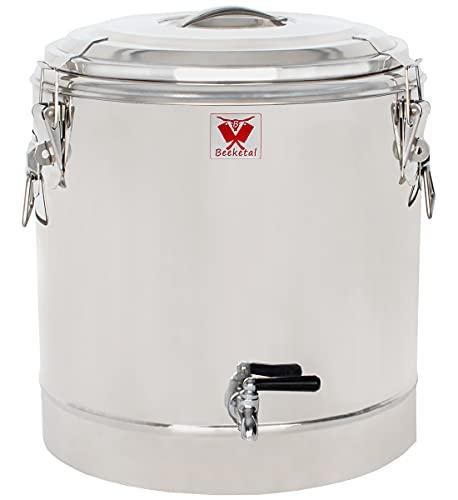 Beeketal 'BTE-40' Transport Thermobehälter 32 L mit Ablaufhahn für Speisen und Getränke, Profi Gastro Speisentransportbehälter aus Edelstahl mit Tragegriffen, Deckel mit Gummiring und Spannverschluss