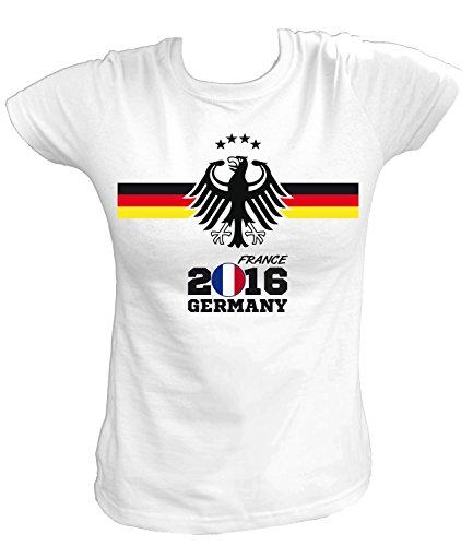 Artdiktat Damen Deutschland Fan T-Shirt - EM 2016 Frankreich - Trikot Ersatz - inkl. Wunschname und Nummer XS - 5XL Größe 5XL, weiß