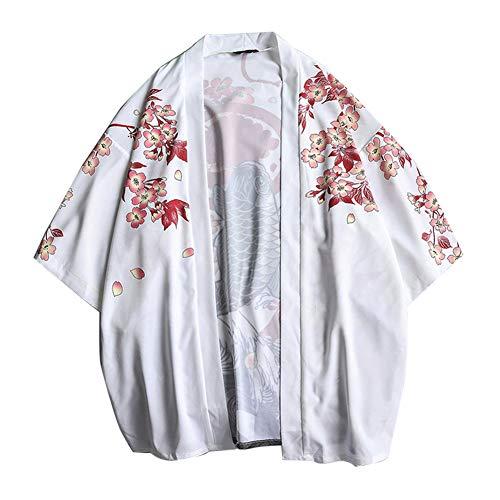 LaoZanA Hombres Vintage Japonés Kimono Camisa Haori Estampado Holgado Cárdigan 2 M
