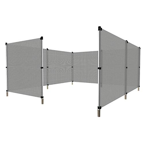 Windscreen4less Fence with Poles Safety Striped Hollow Fencing for Backyard Garden Poultry Rabbits Deer Dog Baseball Field Fence 4'H x 35'L Light Grey