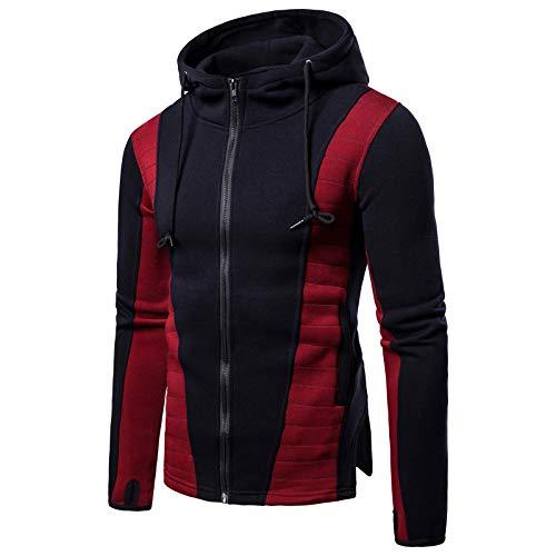 Elonglin Homme Sweat-Shirt à Capuche Manches Longues Zippé Cardigan Colorblock Tops Bleu Foncé FR 48-50 (Asie M)