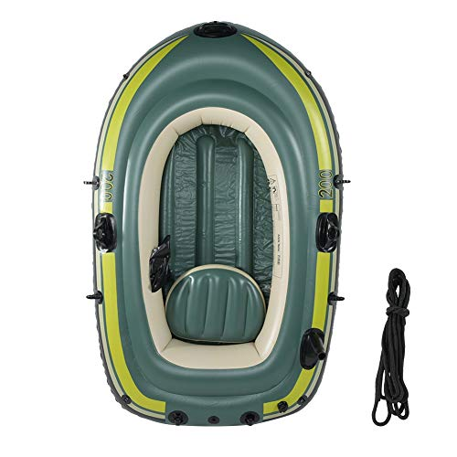 Best Bargain Qiilu Inflatable Boat, Green PVC Inflatable Two Person Rowing Air Boat Fishing Drifting Diving Tool Fit for Surfing Traveling