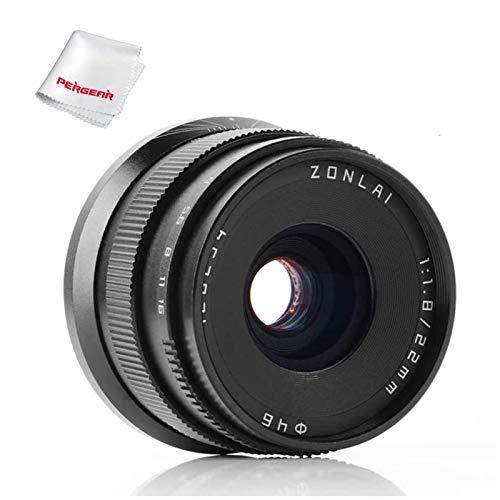 Zonlai 22mm F1.8 APS-C Wide Angle Manuelle Objektiv für Fuji Fujifilm X Mount Fuji X-A1 X-A2 X-A3 X-A10 X-M1 X-M2 X-E1 X-E2 X-E3 X-T1 X-T2 X-T10 X-T20 X-Pro1 X-Pro2 (Schwarz)