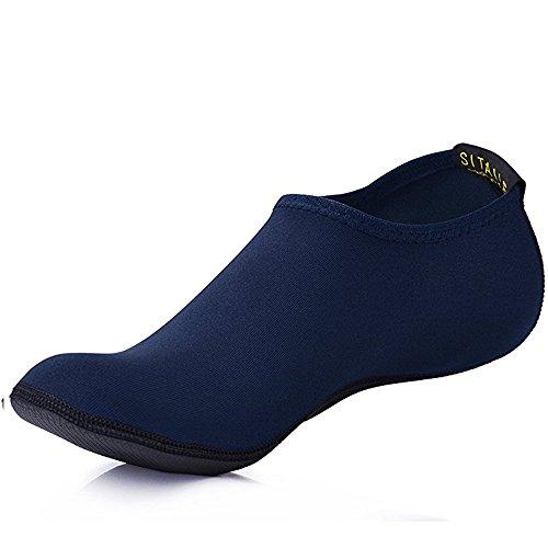 SITAILE Damen Herren Kinder Barfuß Schuhe Weich Wassersport Schuhe Aquaschuhe Surfschuhe Badeschuhe Yoga Fitness Schuhe Water Aqua Shoes,Blau,2XL,EU43-44