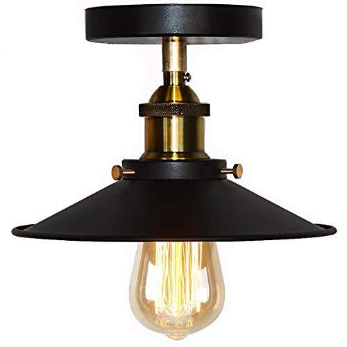 Huahan Haituo soffitto luce Modern Vintage Industrial Metal nero bronzo Loft Bar soffitto luce ombra retrò Ciondolo Light(StyleA,nero)