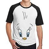 WoodWorths Tweety-Bird Face T-Shirt Fitness T-Shirt Contraste(M,Noir)