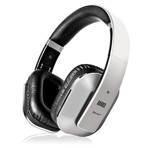 August EP650 Bluetooth Wireless Over Ear Headphones with aptX LL Low Latency/Multipoint/NFC / 3.5mm Audio in/Headset Microphone - Silver