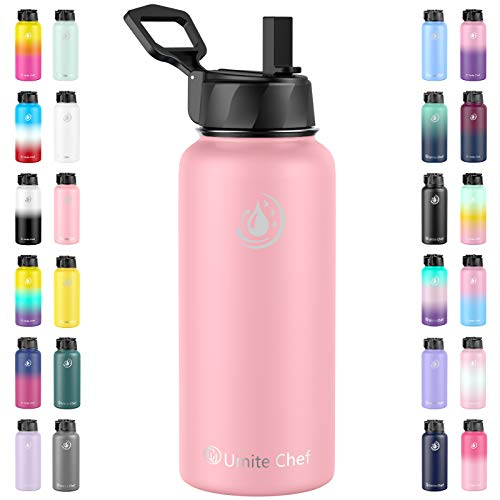 Umite Chef Sports Water Bottle with New Wide Handle Straw Lid, Vacuum Insulated Stainless Steel Thermo Mug, 32 oz Double Walled Wide Mouth Water Bottle,Leak Proof, Sweat Free (Flamingo)